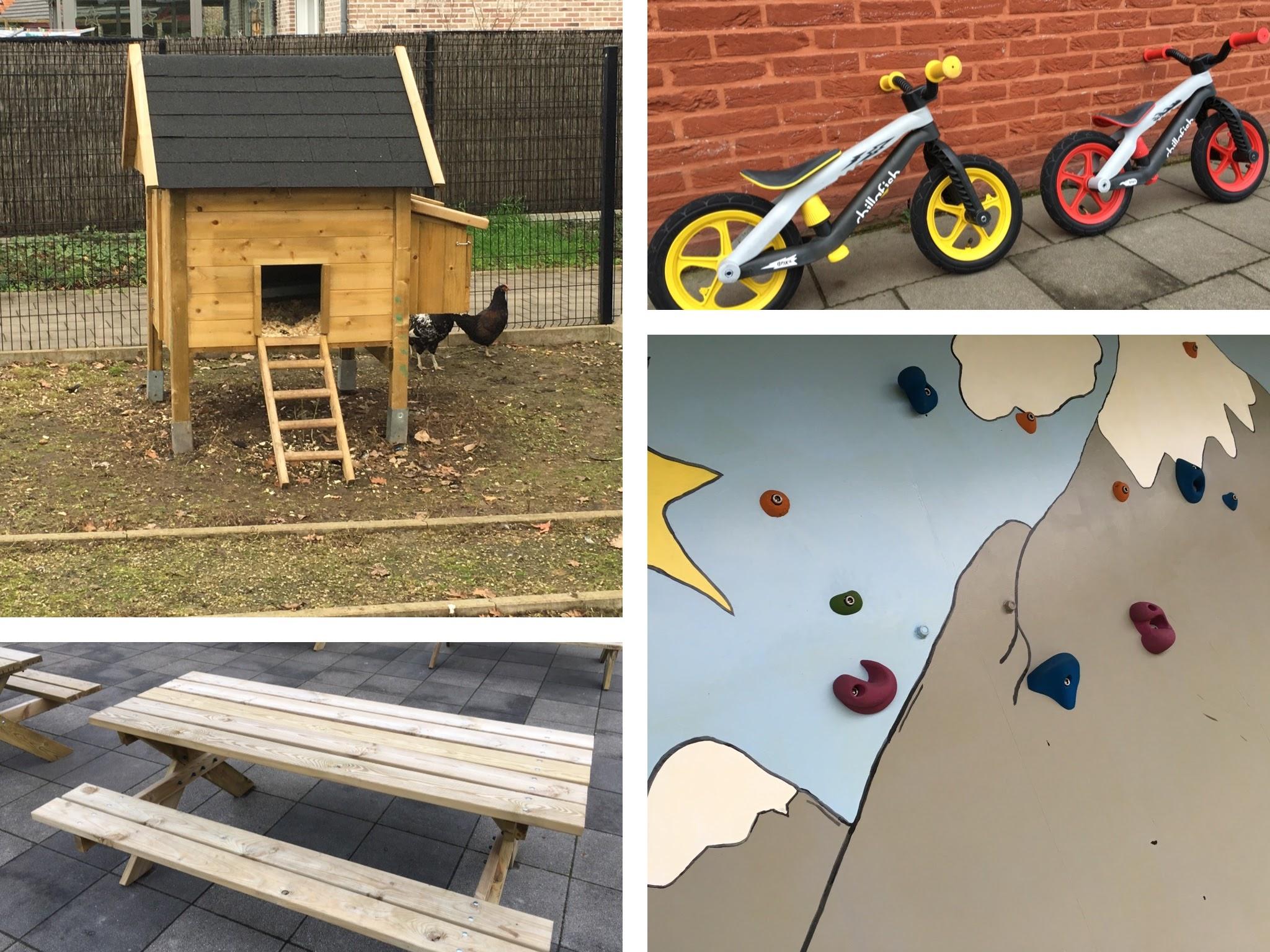 Reeds gerealiseerd door ons oudercomité: kippenhok, fietsjes voor de kleuters, picknickbanken en een klimmuur!